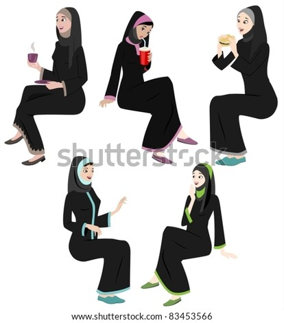 Khaliji Women Icons In Sitting Positions-vector - stock vector