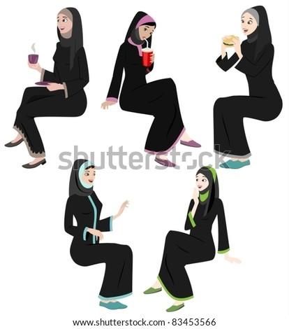 Khaliji Women Icons In Sitting Positions-vector - stock vector
