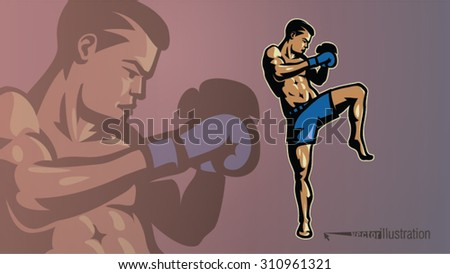 Kick-boxer in a pose. Sport logostyle - stock vector