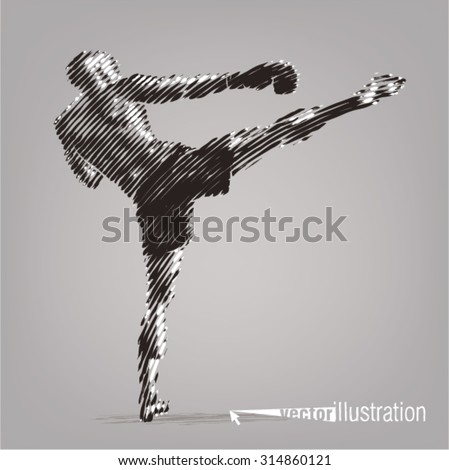 Kick boxer. Vector artwork in the style of ink drawing - stock vector