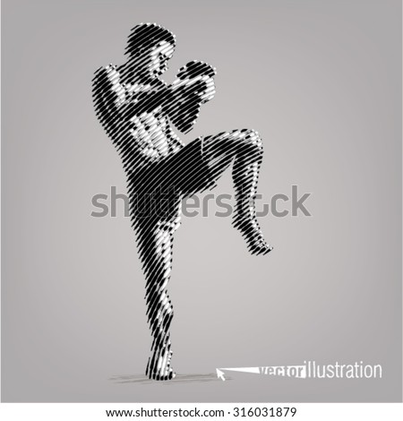 Kick-boxer. Vector artwork in the style of ink drawing - stock vector