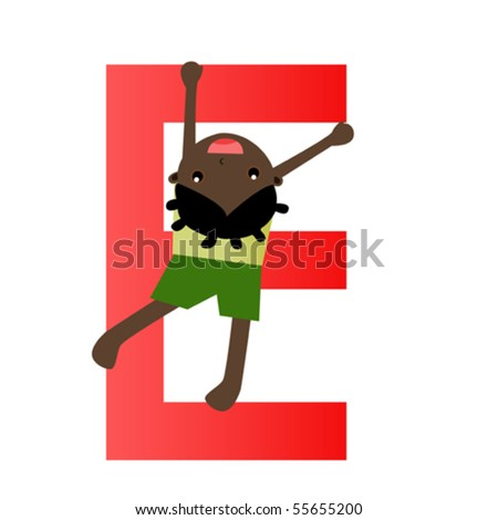 Kid and Alphabet letter - stock vector
