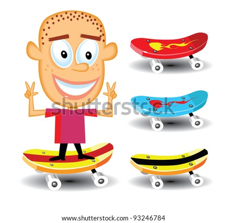 kid and skateboards - stock vector