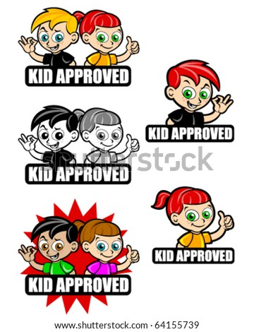 Kid Approved Icon Seal Mark Version Boy And Girl