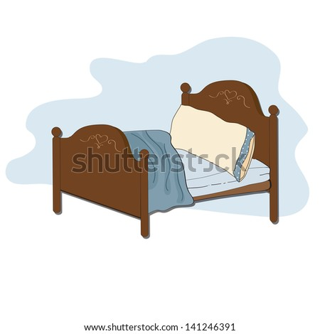 kid bed, illustration in vector format - stock vector
