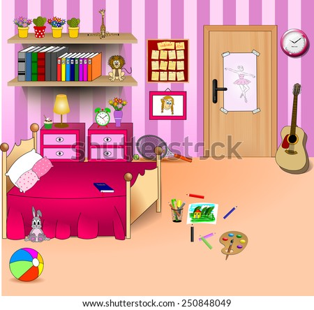 Kid bedroom. Vector art image illustration of a cartoon children room with girl lifestyle elements, toys, bed, door, picture, calendar, clock, bookshelf with books, pencils and guitar on orange carpet - stock vector