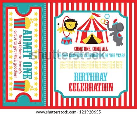 kid birthday invitation card design. vector illustration - stock vector