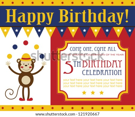 Kid birthday invitation card design vector stock vector 121920667 kid birthday invitation card design vector illustration stopboris Choice Image