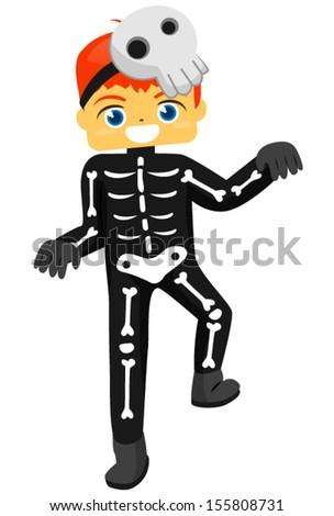 Kid Boy Halloween Skeleton - stock vector