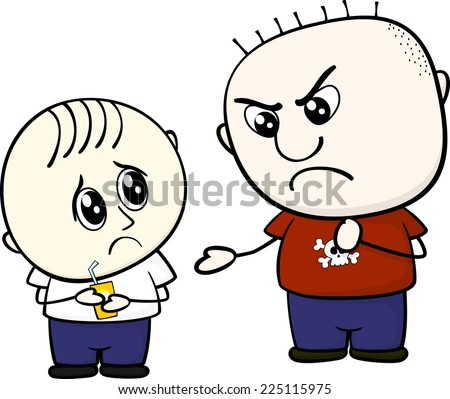 kid bullying a little child isolated on white background - stock vector