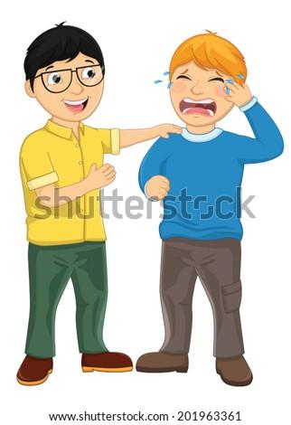Kid Consoling Friend Vector Illustration - stock vector