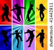 Kid dance disco children silhouette party jumping background image music people vector abstract concept design idea games girl group young boy teen teenager dancing ray fun joy have dancer action male - stock vector