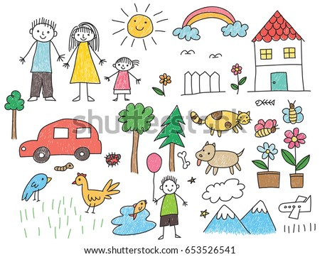 kid drawing with family car animal house and other object - Kids Drawing Pic