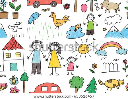 kid drawing with family car animal in seamless background - Kid Drawing Picture
