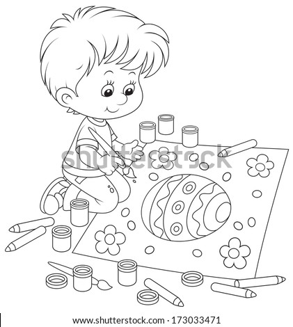 Kid draws an Easter egg - stock vector