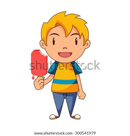 Kid eating ice cream, vector illustration - stock vector