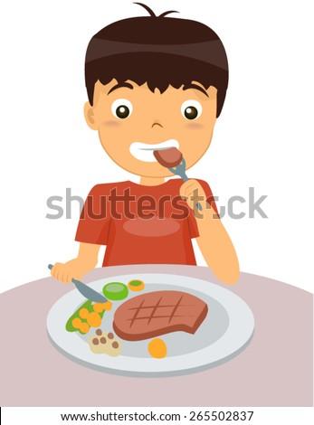 Kid Eating Steak Stock Vector 265502837 Shutterstock