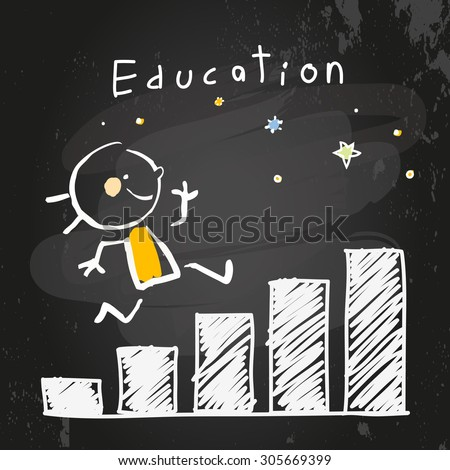 Kid education growing chart, graph. Chalk on blackboard doodle style education concept vector illustration. - stock vector