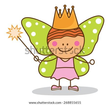 kid fairy costumed - stock vector
