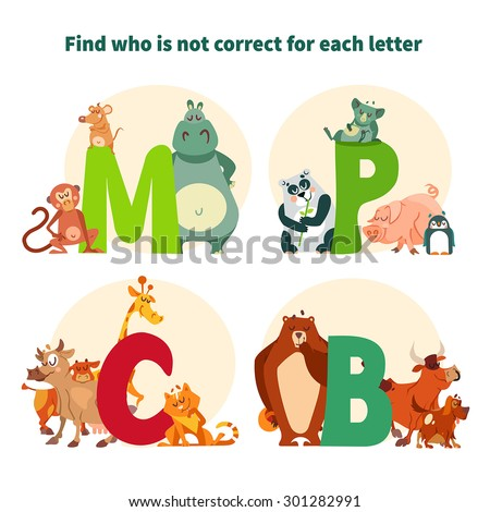 Kid game for for preschool education. Find out who is not correct for each letter. Vector illustration - stock vector