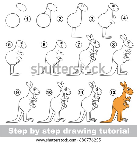how to draw a baby kangaroo