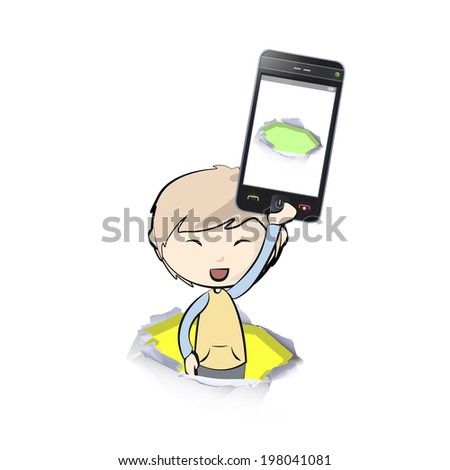 Kid holding Phones with colorful holes. Vector illustration.