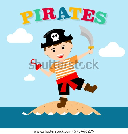 Kid pirate costume poster birthday party stock vector 570466234 kid in pirate costume poster birthday and party invitation card in pirate theme concept stopboris