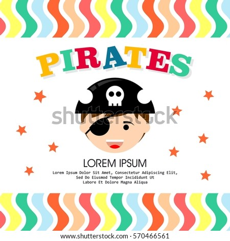 Kid pirate costume poster birthday party stock photo photo vector kid in pirate costume poster birthday and party invitation card in pirate theme concept stopboris Image collections