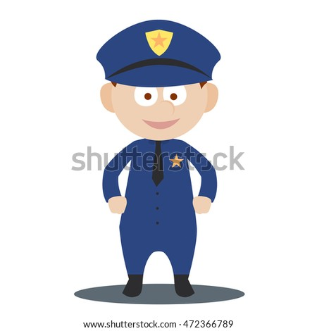 Kid in professions costume. Kid act as a working adult. Kid as police officer