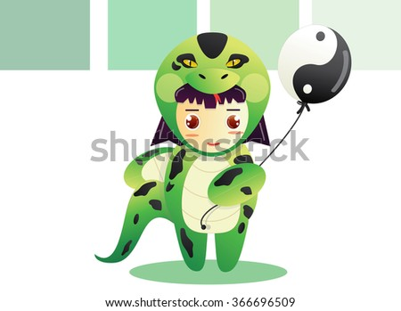 Kid in Snake Chinese Zodiac Costume vector