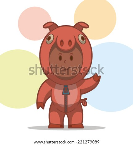 kid in the animal costume, pig, vector - stock vector