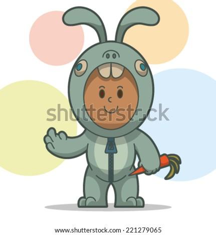 kid in the animal costume, rabbit, vector - stock vector