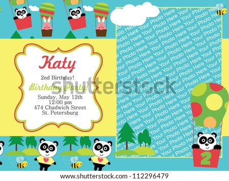 kid invitation card design. vector illustration - stock vector