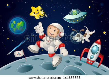 Kid jumping in space accompanied by his dog friend, has reached the moon in his space rocket, and surprised an alien, though this perhaps may be just your imagination. - stock vector