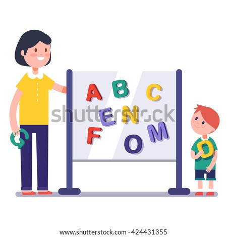 Kid learning abc in kindergarten with teacher or tutor. Home learning with mom. Modern flat style color modern vector illustration. - stock vector