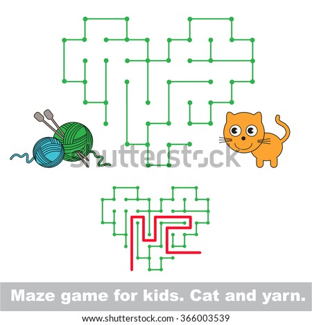 Kid maze game. Cat want to play with yarn. - stock vector