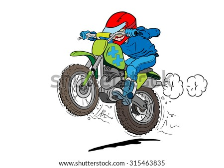 Kid motocross biker in action