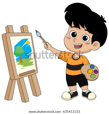 kid painting a picturevector and illustration - Picture For Kid Painting