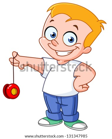 Kid playing with a yo-yo - stock vector