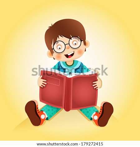 kid reading book - stock vector