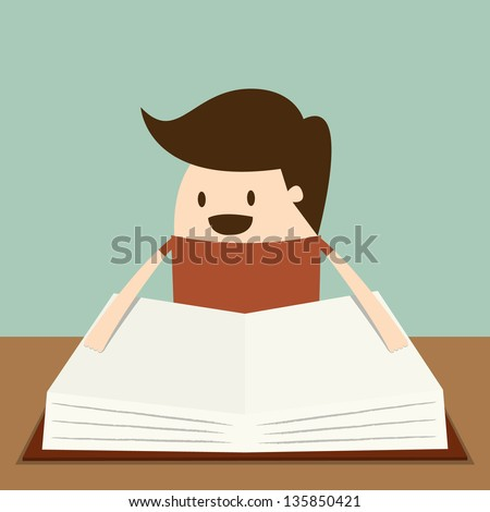 Kid reading the Book. Education - stock vector