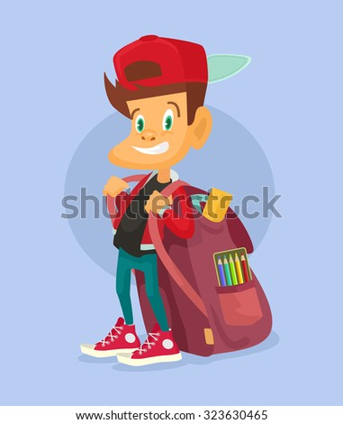 Kid ready to go back to school. Vector flat illustration - stock vector