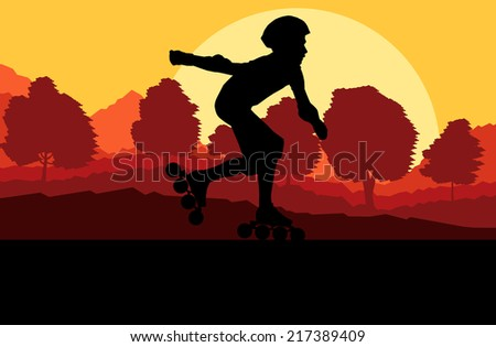 Kid roller skating in park vector background concept