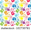 Kid's and mother's handprint, seamless pattern - stock