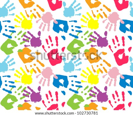Kid's and mother's handprint, seamless pattern - stock vector