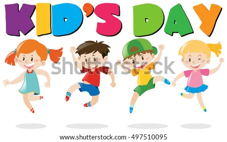 Kid's day poster with kids jumping illustration