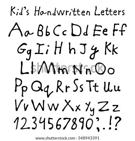 Kid's handwritten letters. Full alphabet and numbers. Children script font. - stock vector
