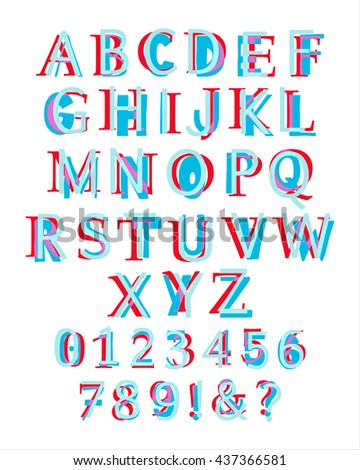 Kid's style colorful latin alphabet layered with different fonts. Illustration of capital letters and numbers. Eps 10 Vector - stock vector