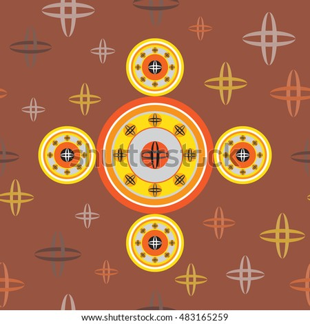 Kid seamless abstract pattern, colorful circles on chocolate background, ufo, planets.