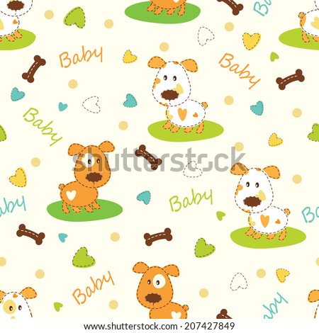 Kid seamless pattern with funny dog - stock vector